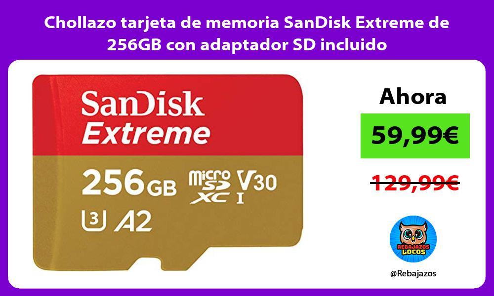 Chollazo tarjeta de memoria SanDisk Extreme de 256GB con adaptador SD incluido