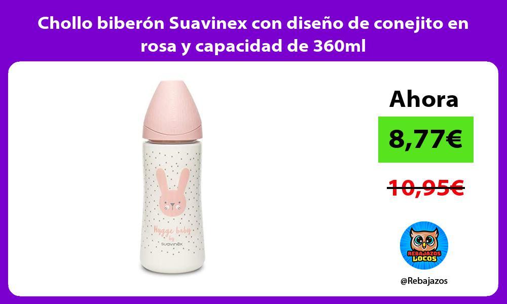 Chollo biberon Suavinex con diseno de conejito en rosa y capacidad de 360ml
