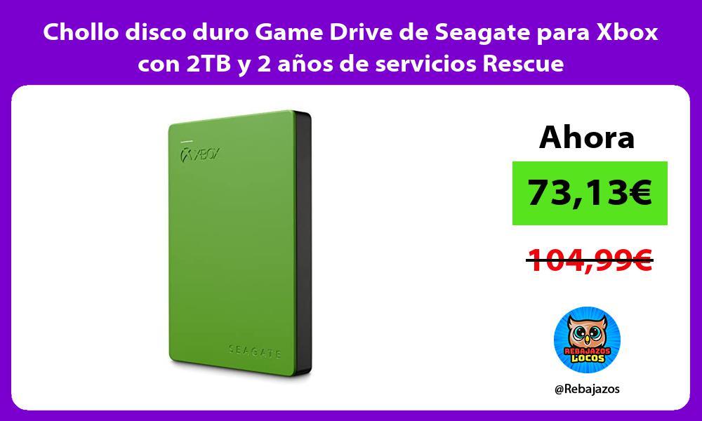 Chollo disco duro Game Drive de Seagate para Xbox con 2TB y 2 anos de servicios Rescue