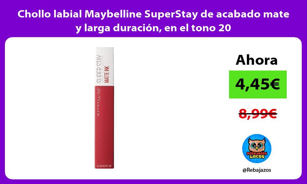 Chollo labial Maybelline SuperStay de acabado mate y larga duracion en el tono 20