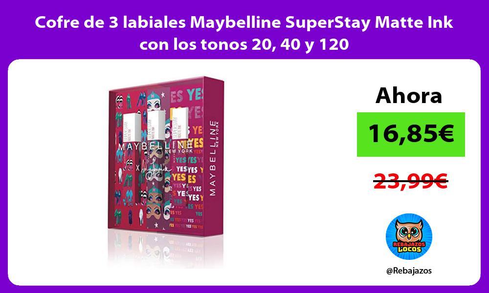 Cofre de 3 labiales Maybelline SuperStay Matte Ink con los tonos 20 40 y 120