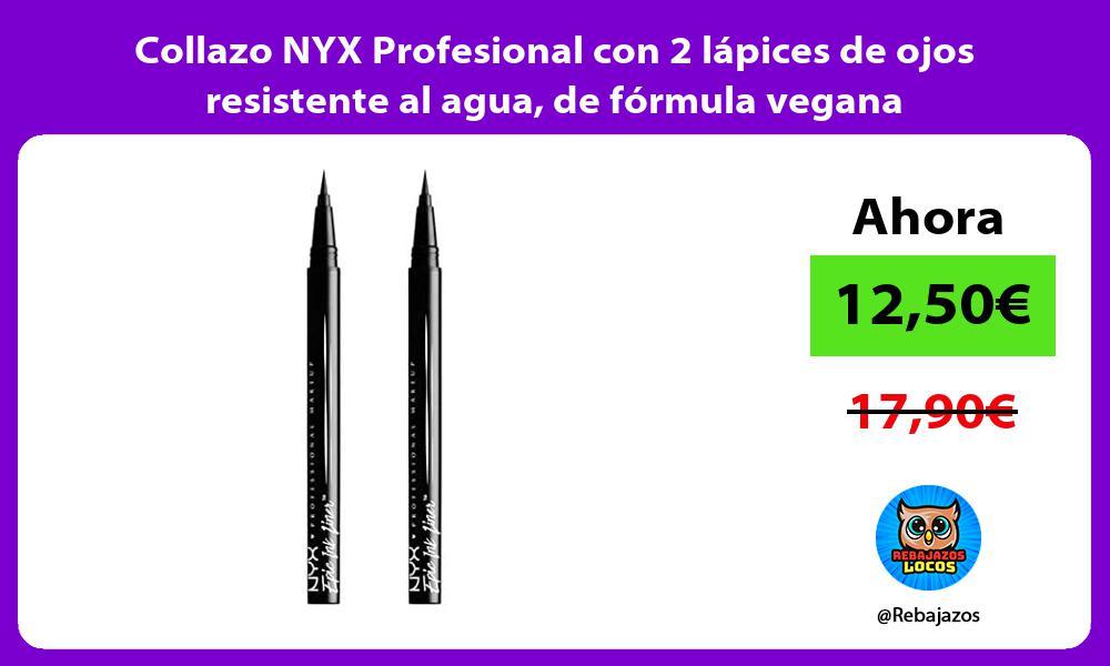 Collazo NYX Profesional con 2 lapices de ojos resistente al agua de formula vegana