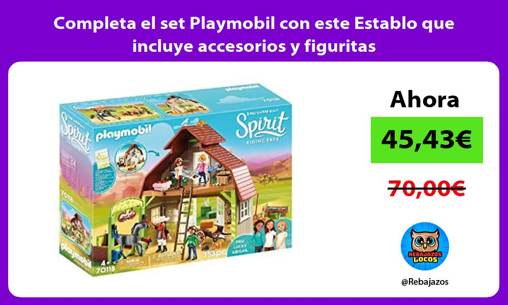 Completa el set Playmobil con este Establo que incluye accesorios y figuritas