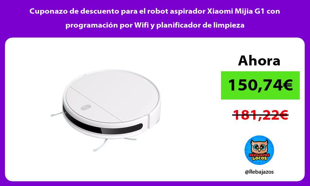 Cuponazo de descuento para el robot aspirador Xiaomi Mijia G1 con programacion por Wifi y planificador de limpieza