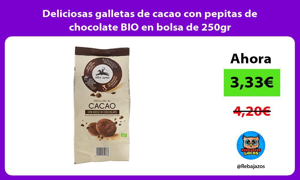 Deliciosas galletas de cacao con pepitas de chocolate BIO en bolsa de 250gr