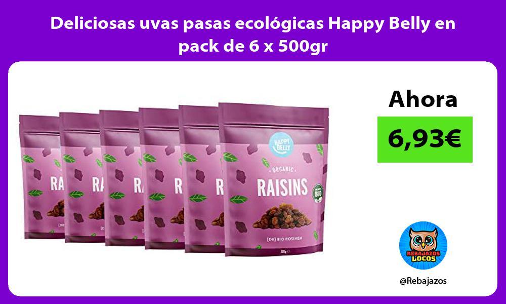 Deliciosas uvas pasas ecologicas Happy Belly en pack de 6 x 500gr