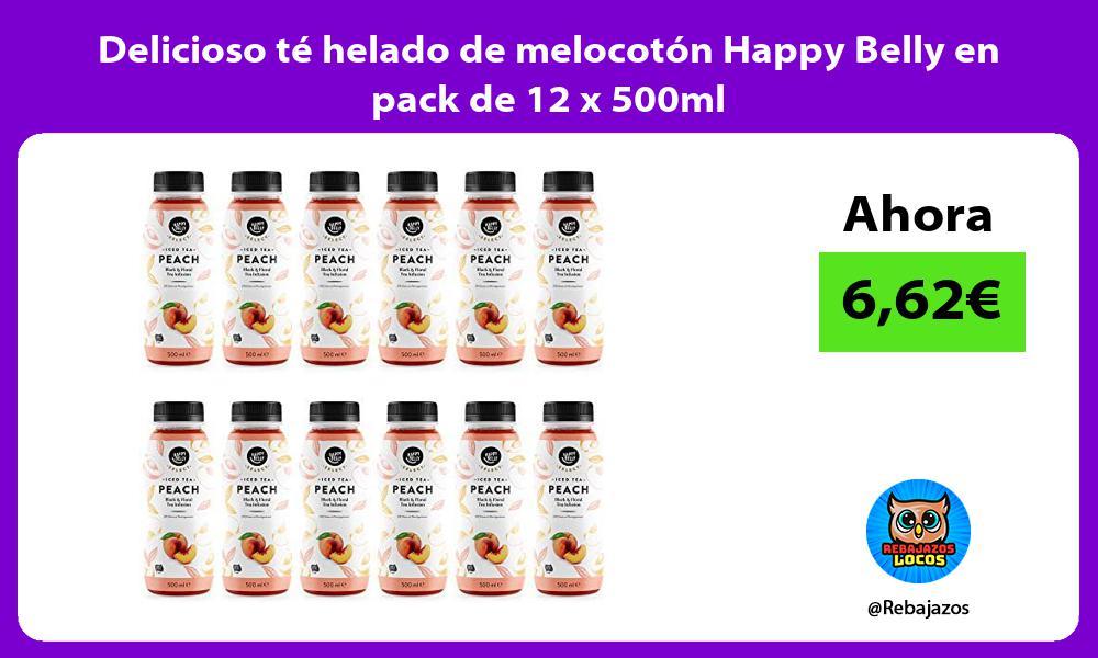 Delicioso te helado de melocoton Happy Belly en pack de 12 x 500ml