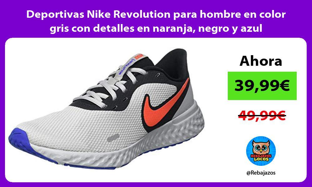 Deportivas Nike Revolution para hombre en color gris con detalles en naranja negro y azul