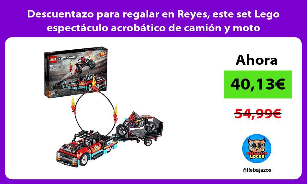Descuentazo para regalar en Reyes este set Lego espectaculo acrobatico de camion y moto