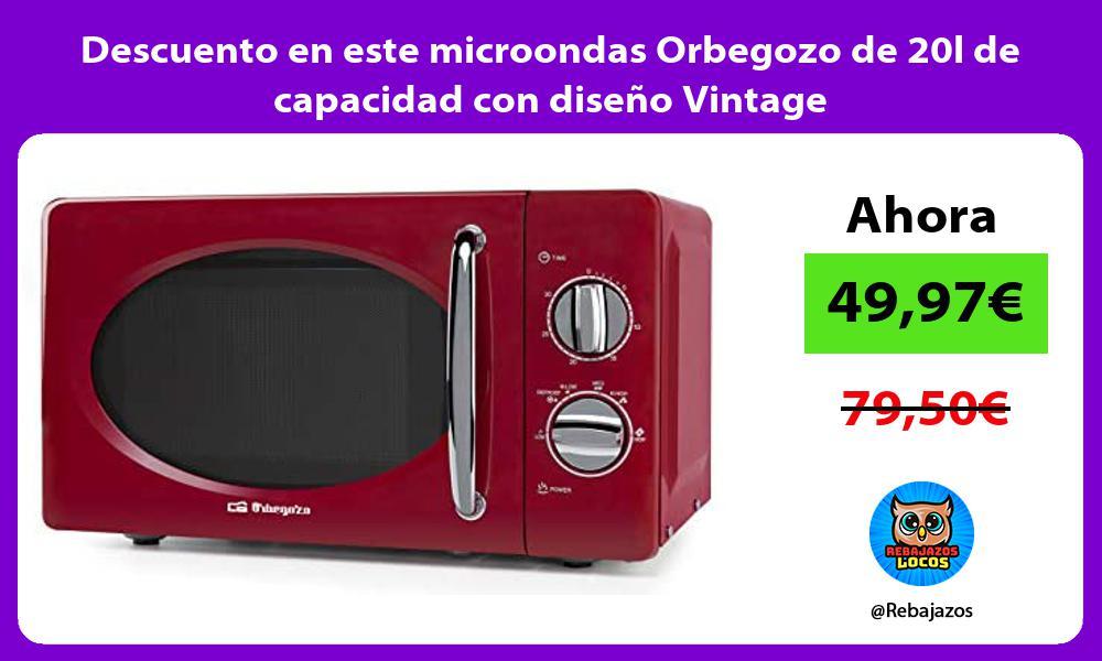 Descuento en este microondas Orbegozo de 20l de capacidad con diseno Vintage