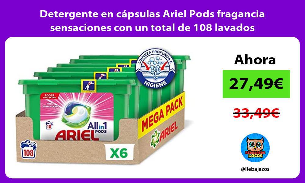 Detergente en capsulas Ariel Pods fragancia sensaciones con un total de 108 lavados