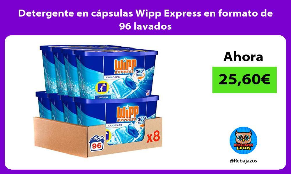 Detergente en capsulas Wipp Express en formato de 96 lavados