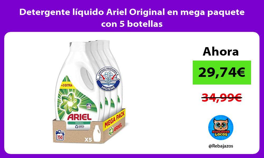 Detergente liquido Ariel Original en mega paquete con 5 botellas