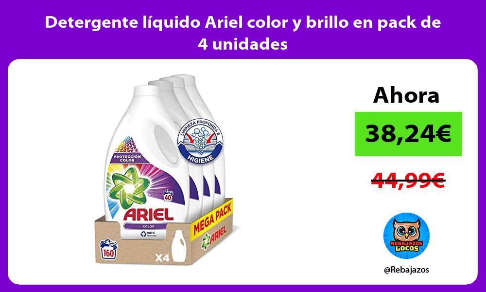 Detergente liquido Ariel color y brillo en pack de 4 unidades
