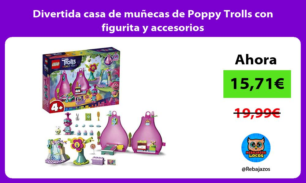 Divertida casa de munecas de Poppy Trolls con figurita y accesorios