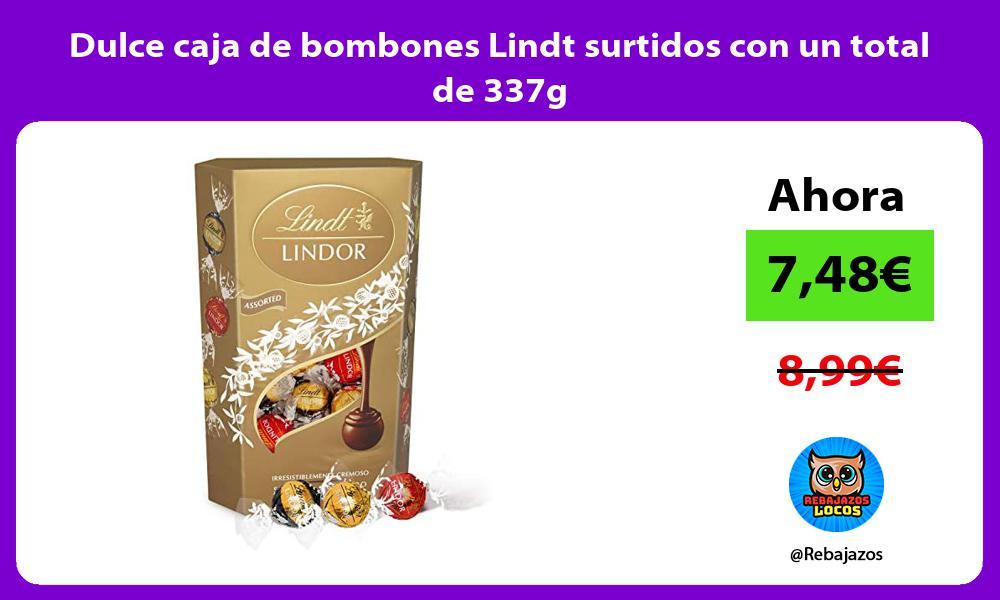 Dulce caja de bombones Lindt surtidos con un total de 337g
