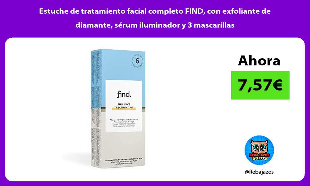 Estuche de tratamiento facial completo FIND con exfoliante de diamante serum iluminador y 3 mascarillas