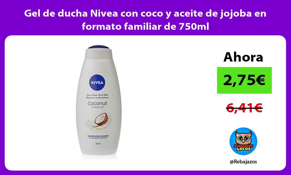 Gel de ducha Nivea con coco y aceite de jojoba en formato familiar de 750ml