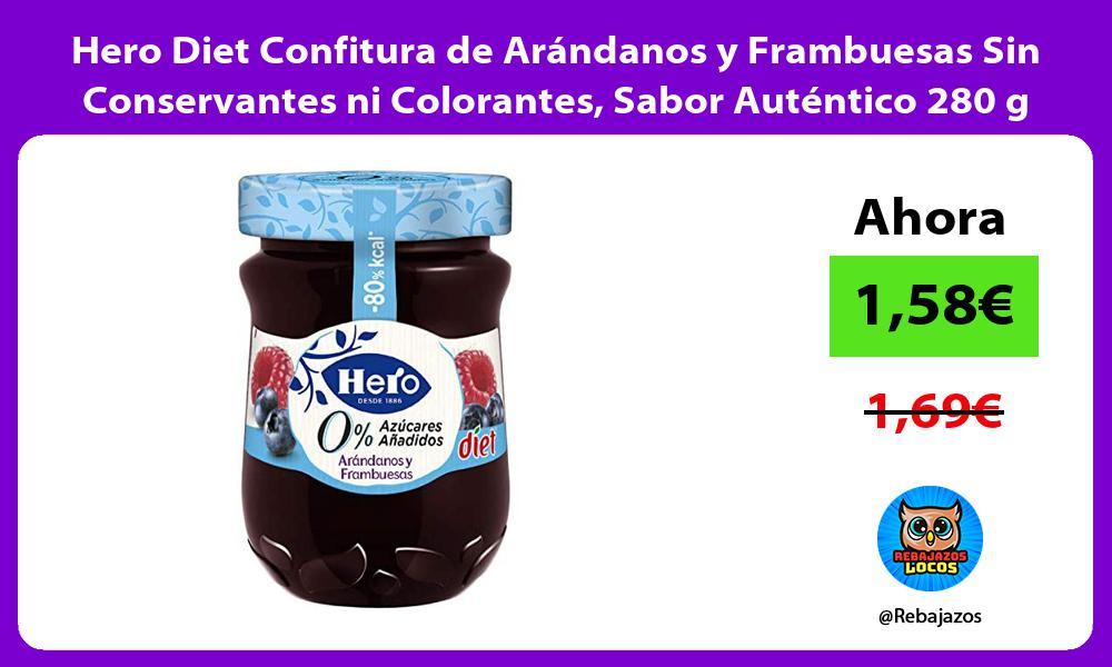 Hero Diet Confitura de Arandanos y Frambuesas Sin Conservantes ni Colorantes Sabor Autentico 280 g