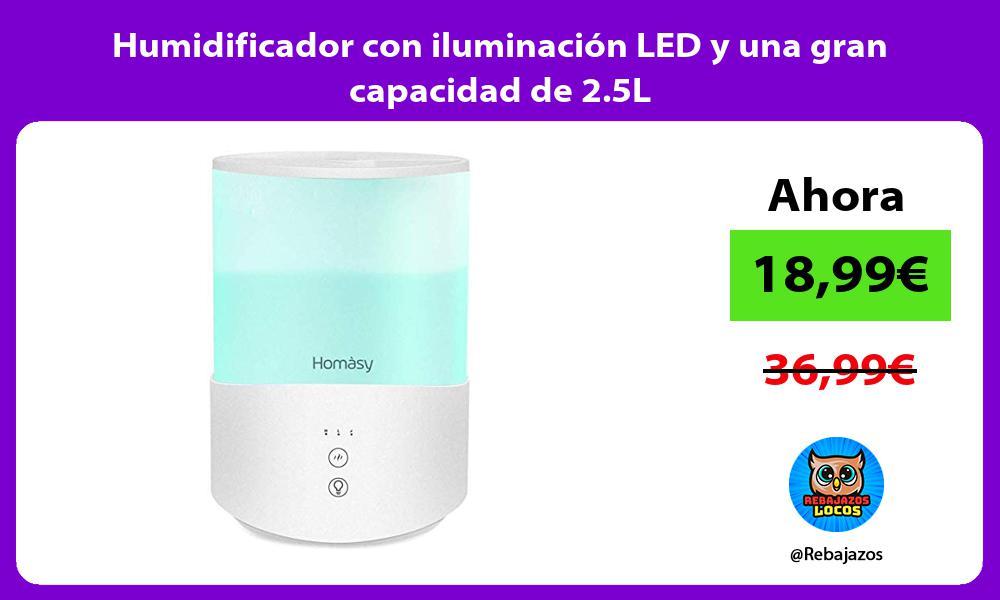 Humidificador con iluminacion LED y una gran capacidad de 2 5L