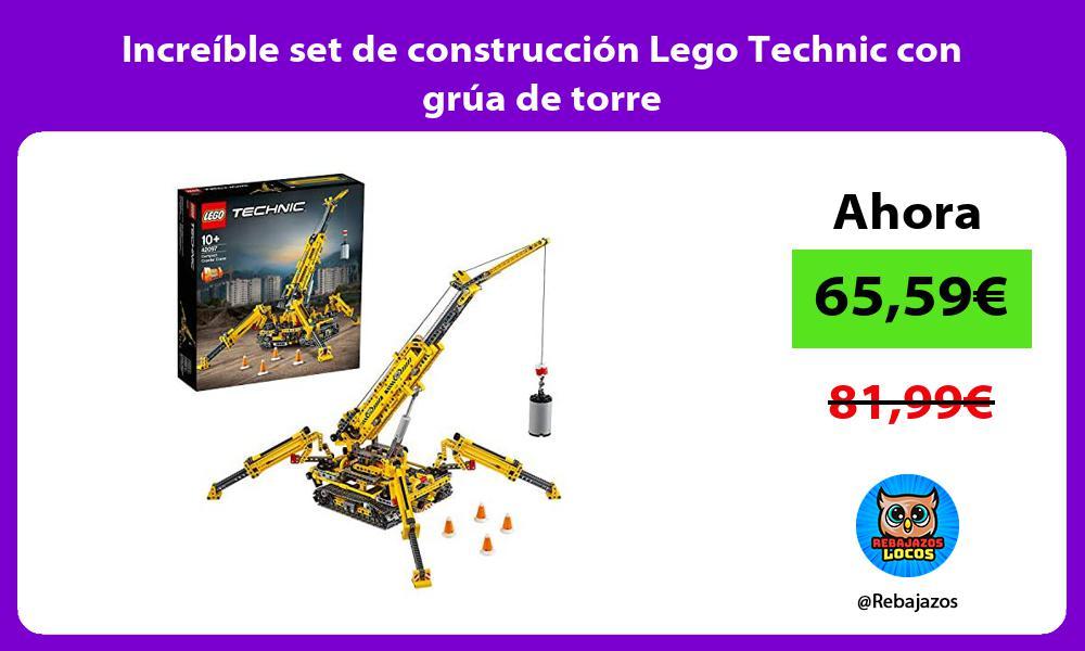 Increible set de construccion Lego Technic con grua de torre
