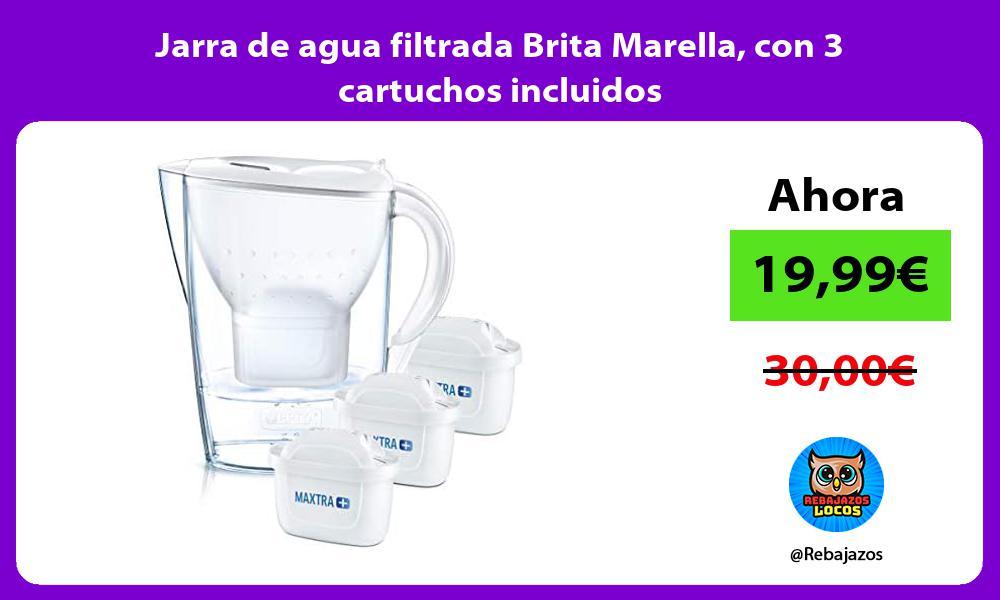 Jarra de agua filtrada Brita Marella con 3 cartuchos incluidos
