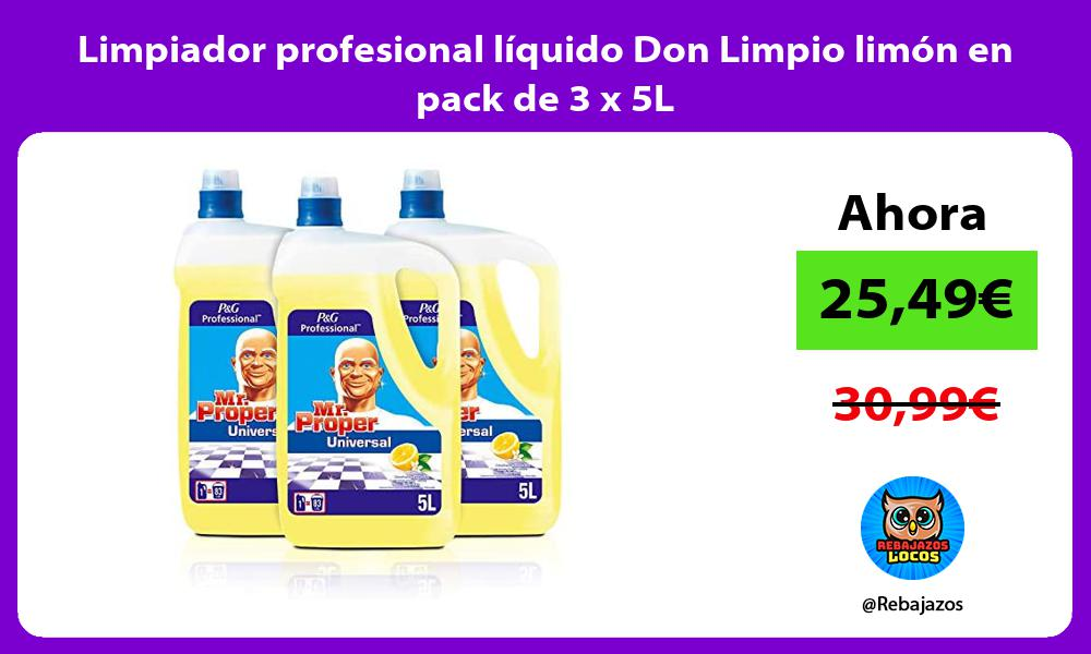 Limpiador profesional liquido Don Limpio limon en pack de 3 x 5L