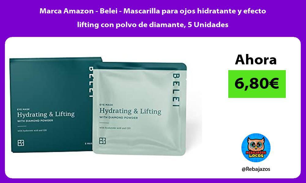 Marca Amazon Belei Mascarilla para ojos hidratante y efecto lifting con polvo de diamante 5 Unidades
