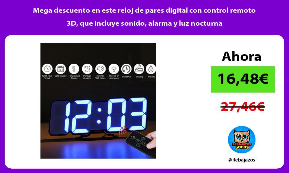 Mega descuento en este reloj de pares digital con control remoto 3D que incluye sonido alarma y luz nocturna