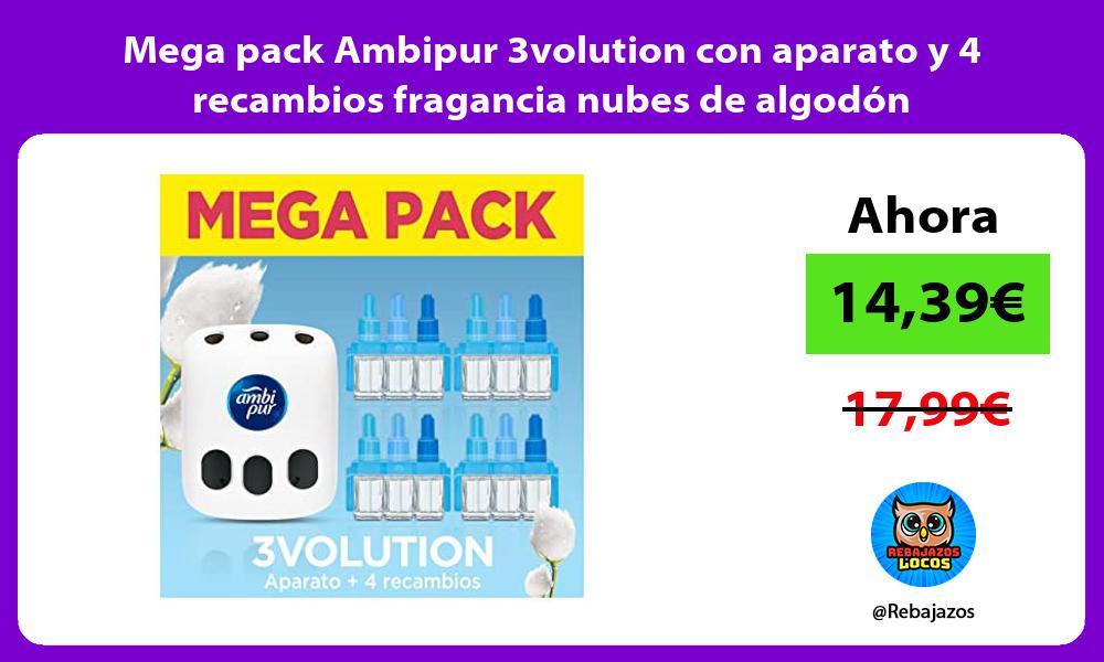 Mega pack Ambipur 3volution con aparato y 4 recambios fragancia nubes de algodon