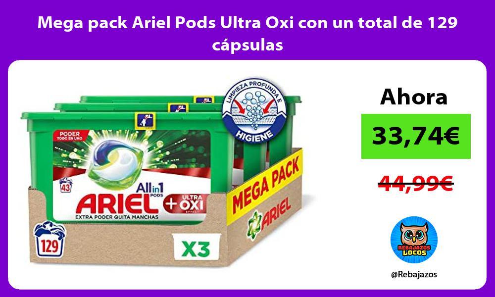 Mega pack Ariel Pods Ultra Oxi con un total de 129 capsulas