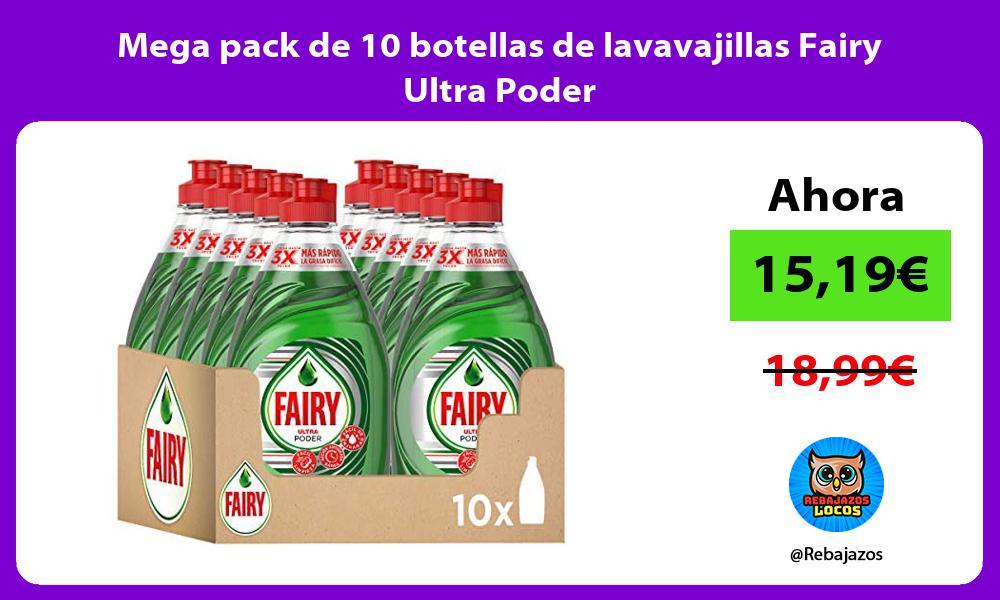 Mega pack de 10 botellas de lavavajillas Fairy Ultra Poder