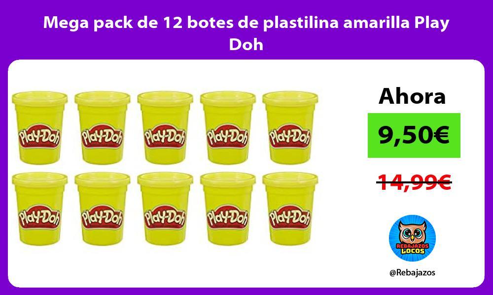 Mega pack de 12 botes de plastilina amarilla Play Doh