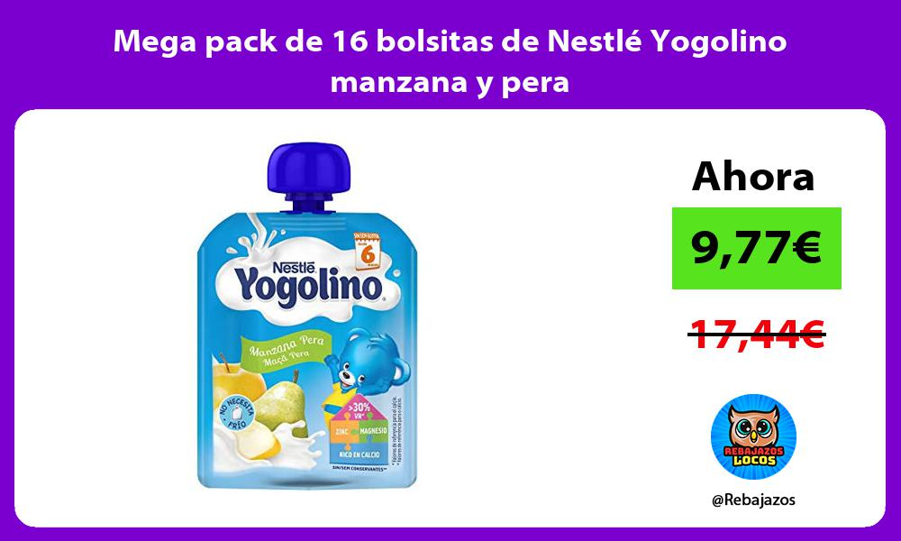 Mega pack de 16 bolsitas de Nestle Yogolino manzana y pera