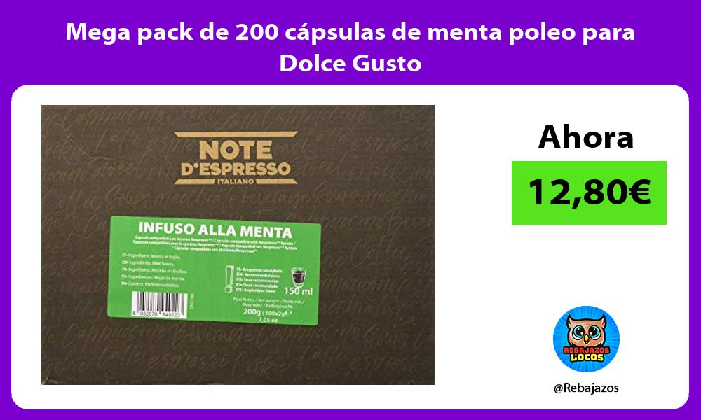 Mega pack de 200 capsulas de menta poleo para Dolce Gusto
