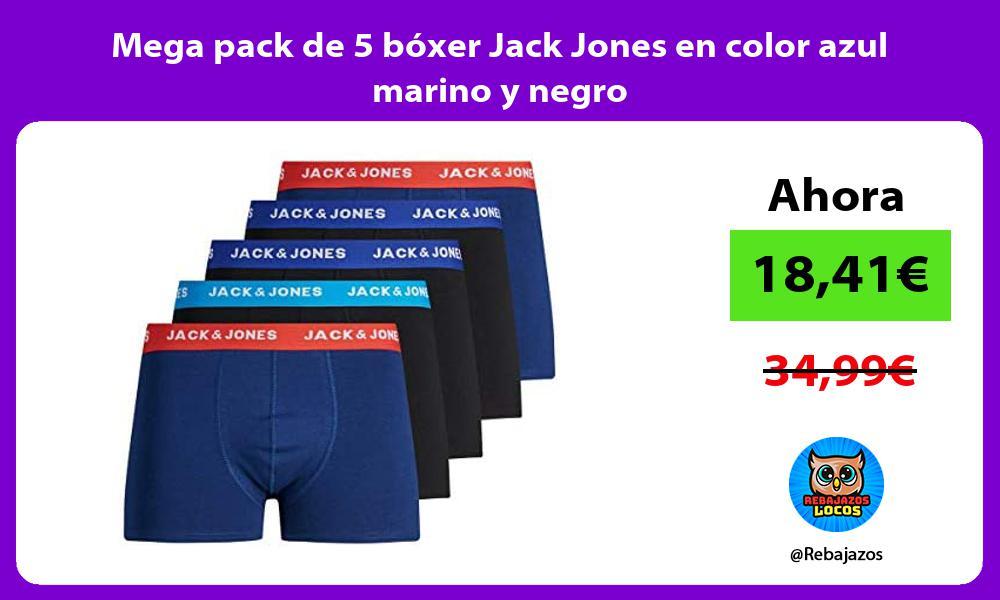 Mega pack de 5 boxer Jack Jones en color azul marino y negro