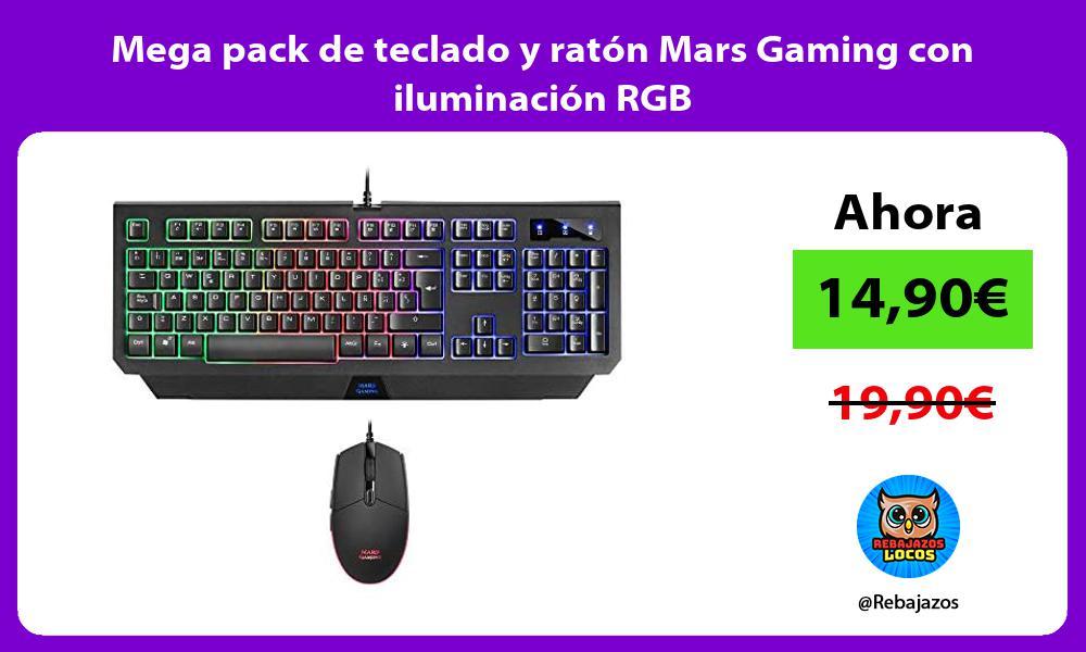 Mega pack de teclado y raton Mars Gaming con iluminacion RGB