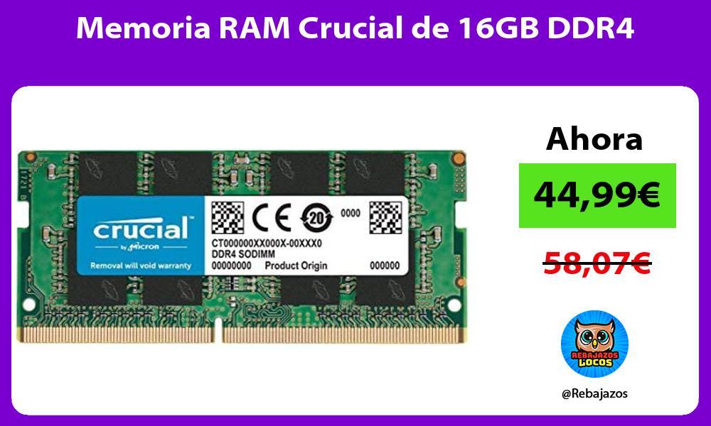 Memoria RAM Crucial de 16GB DDR4