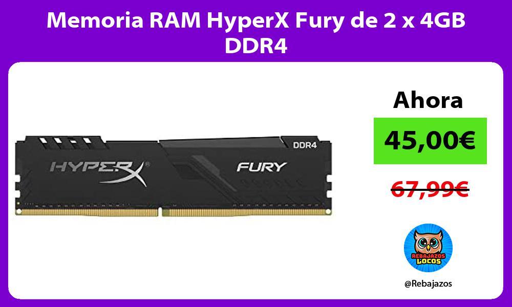 Memoria RAM HyperX Fury de 2 x 4GB DDR4