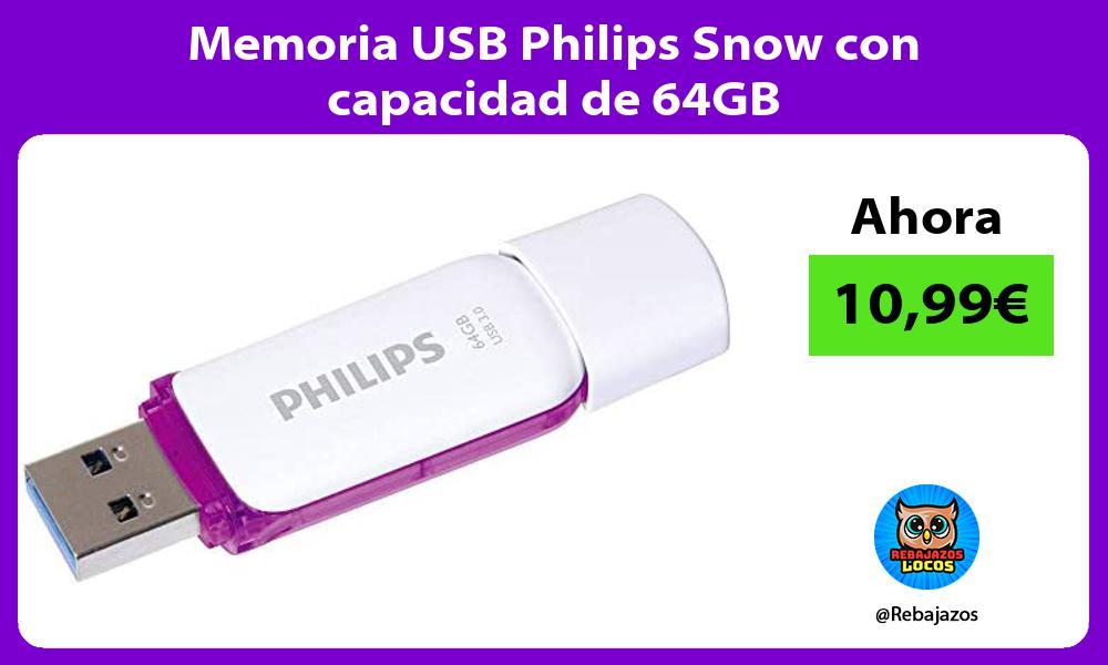 Memoria USB Philips Snow con capacidad de 64GB