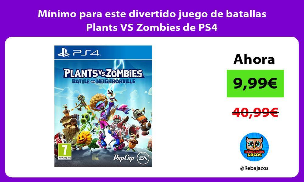 Minimo para este divertido juego de batallas Plants VS Zombies de PS4