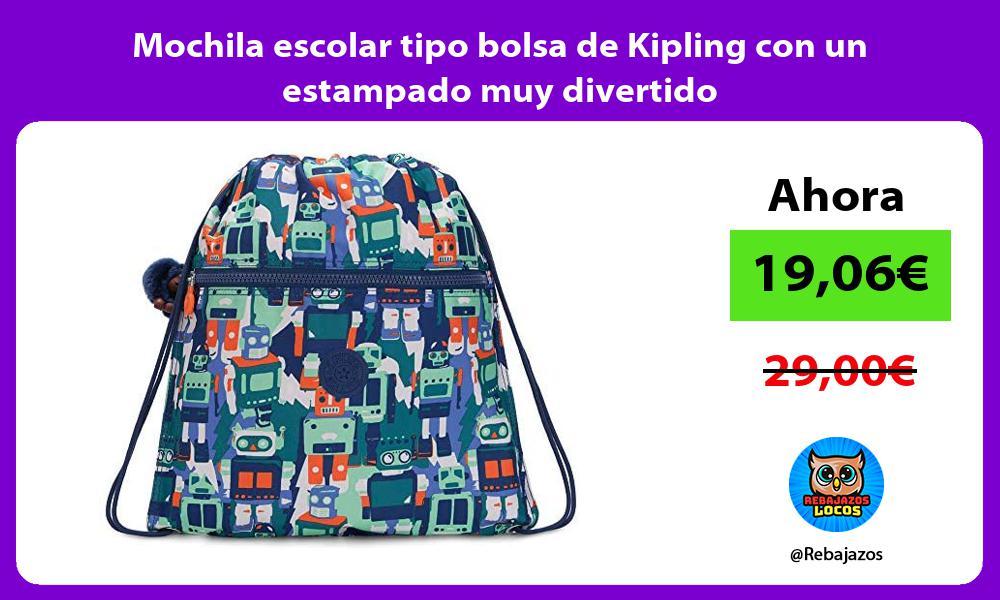 Mochila escolar tipo bolsa de Kipling con un estampado muy divertido