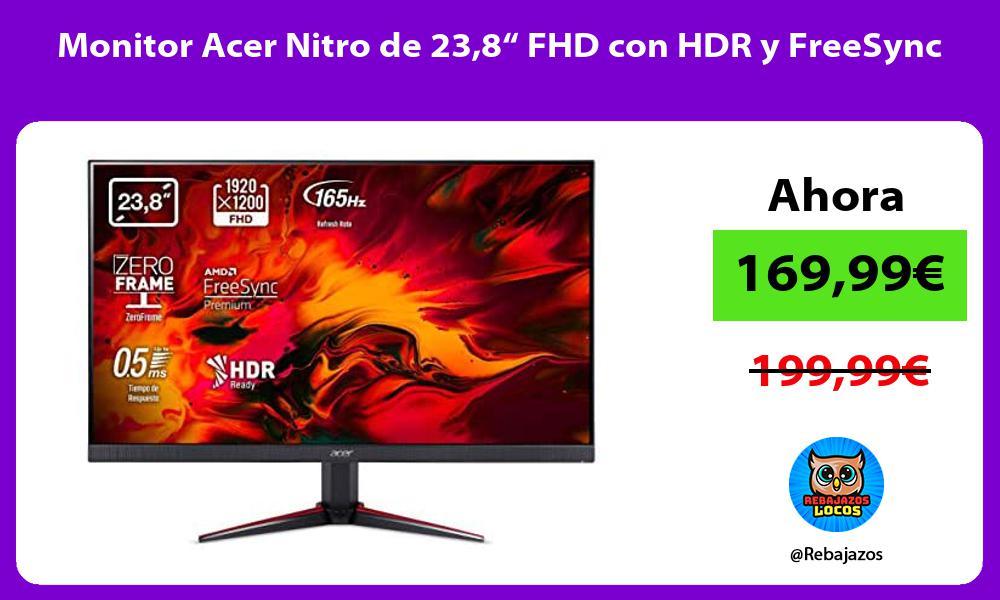Monitor Acer Nitro de 238 FHD con HDR y FreeSync