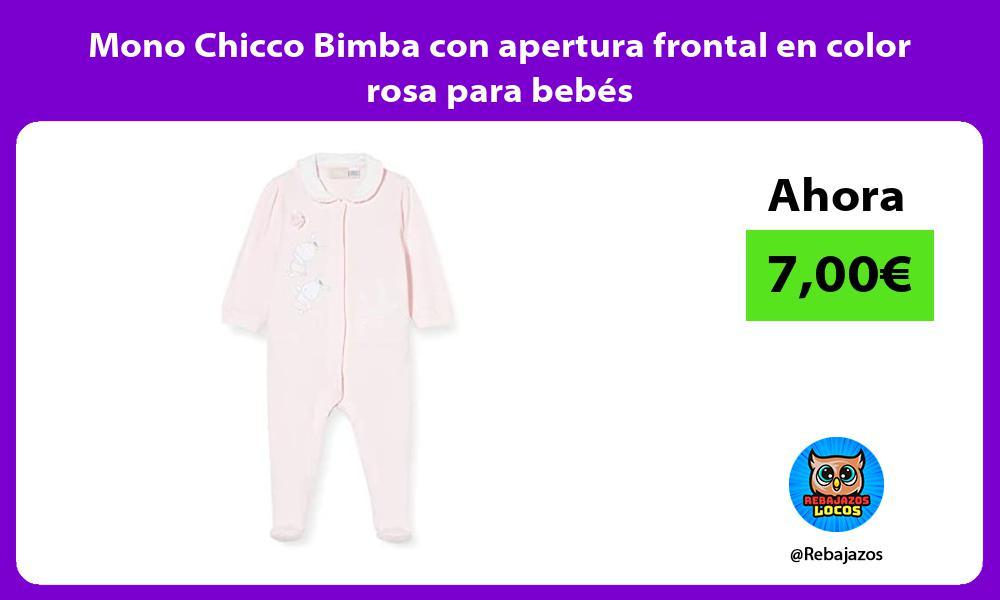 Mono Chicco Bimba con apertura frontal en color rosa para bebes