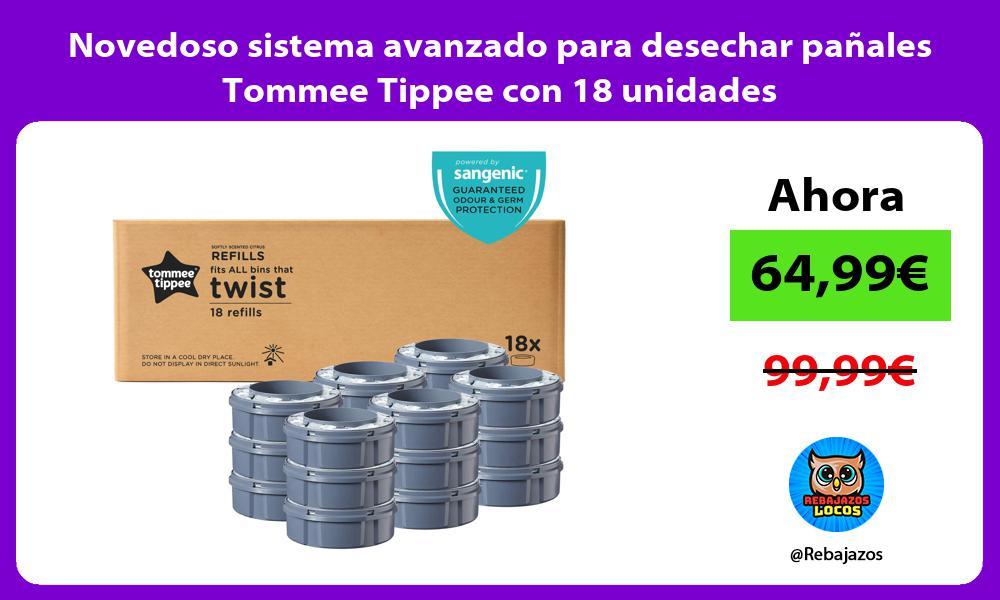 Novedoso sistema avanzado para desechar panales Tommee Tippee con 18 unidades