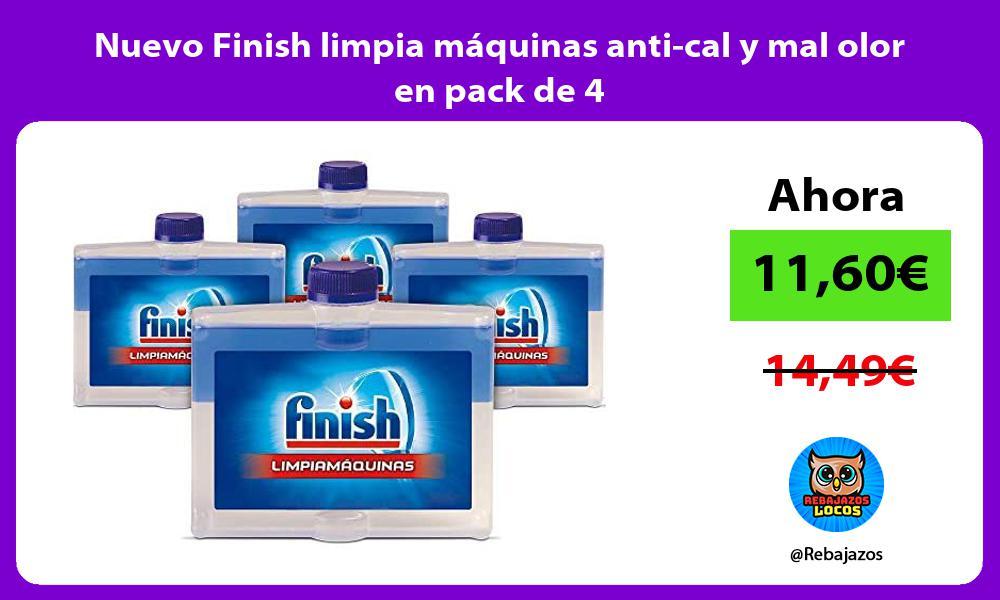 Nuevo Finish limpia maquinas anti cal y mal olor en pack de 4