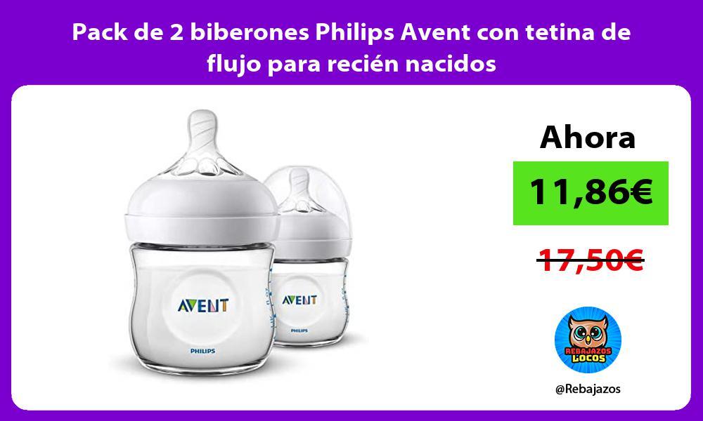 Pack de 2 biberones Philips Avent con tetina de flujo para recien nacidos