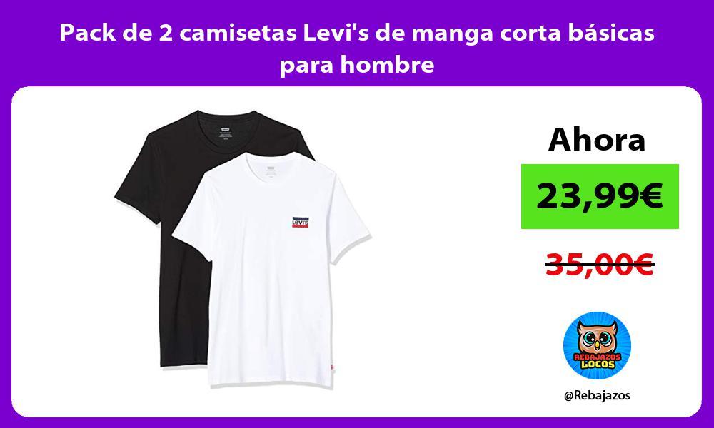 Pack de 2 camisetas Levis de manga corta basicas para hombre