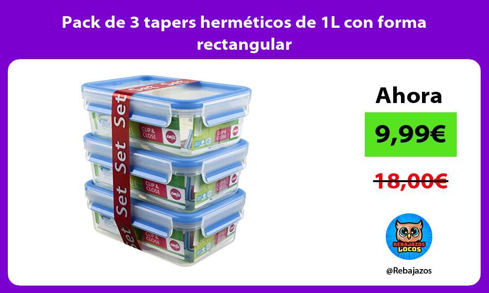 Pack de 3 tapers hermeticos de 1L con forma rectangular