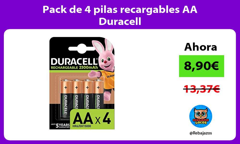 Pack de 4 pilas recargables AA Duracell